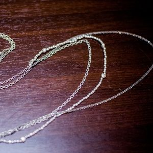 AE SILVER BEAD CHAIN LAYER NECKLACE